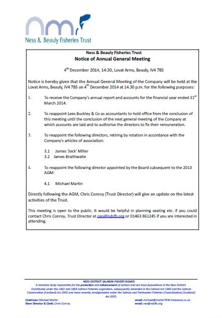 Trust AGM Notification 311014